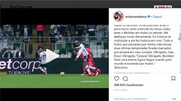 Talisca despede-se do Besiktas